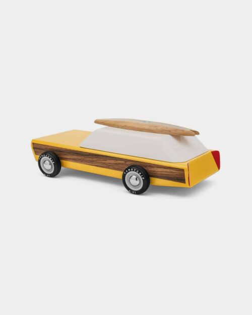 Yellow and white wooden toy car