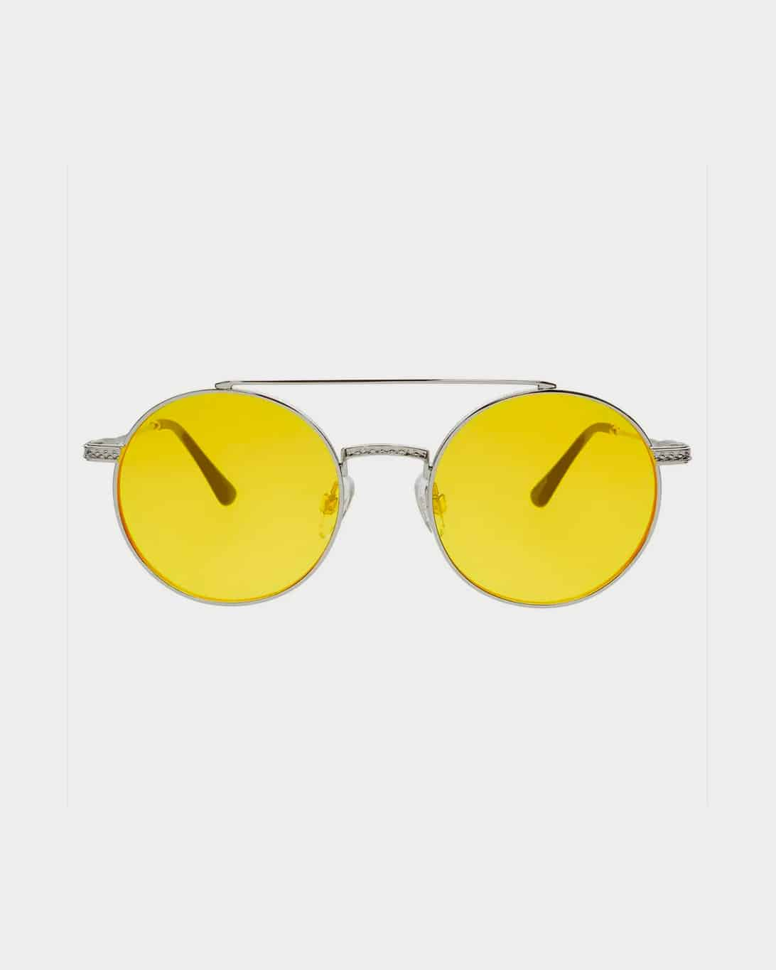 Silver framed sunglasses with yellow lenses
