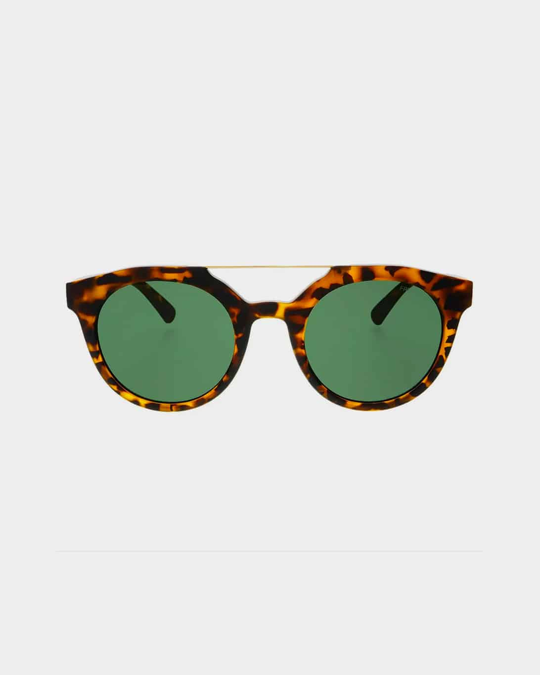 Tortoise framed sunglasses with green lenses