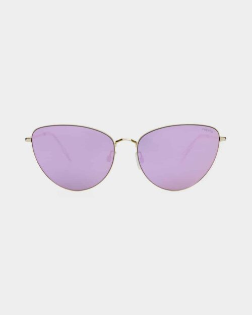 A photo of gold rimmed sunglasses with lavender lenses