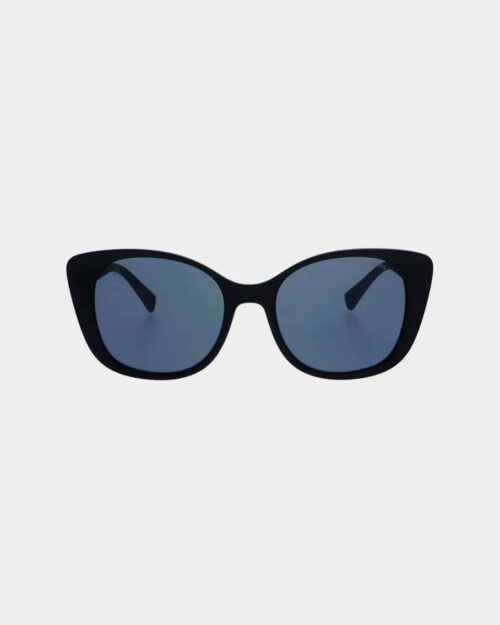 Black framed sunglasses with black lenses