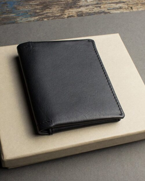 A photo of a black, bifold leather wallet
