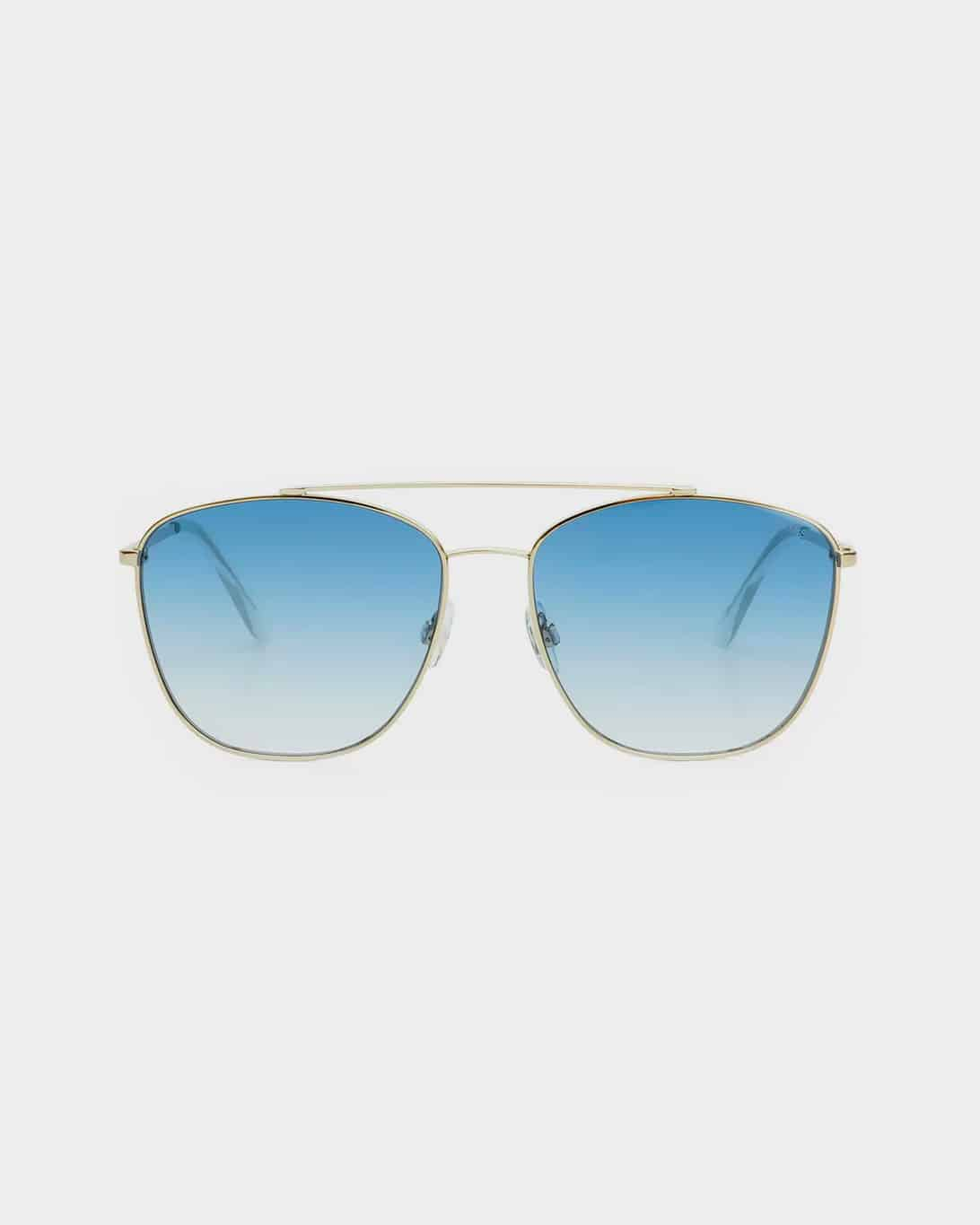 Gold framed sunglasses with blue lenses