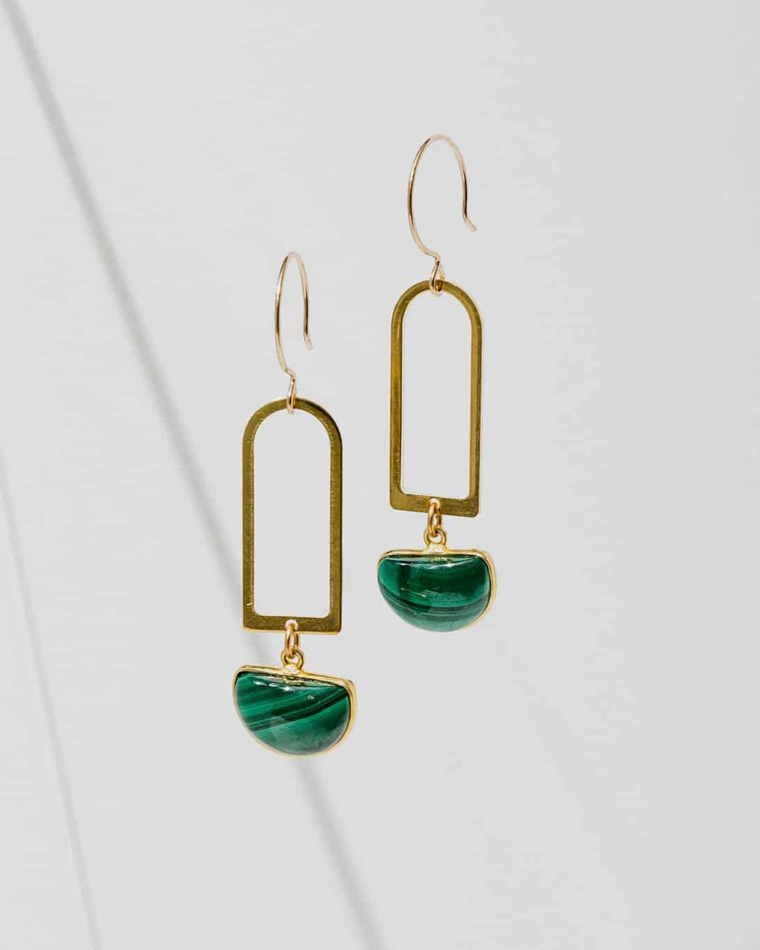 brass pendant earrings with green stones