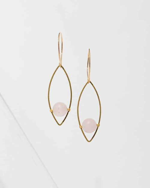 Gold earrings with rose quartz stones in the center