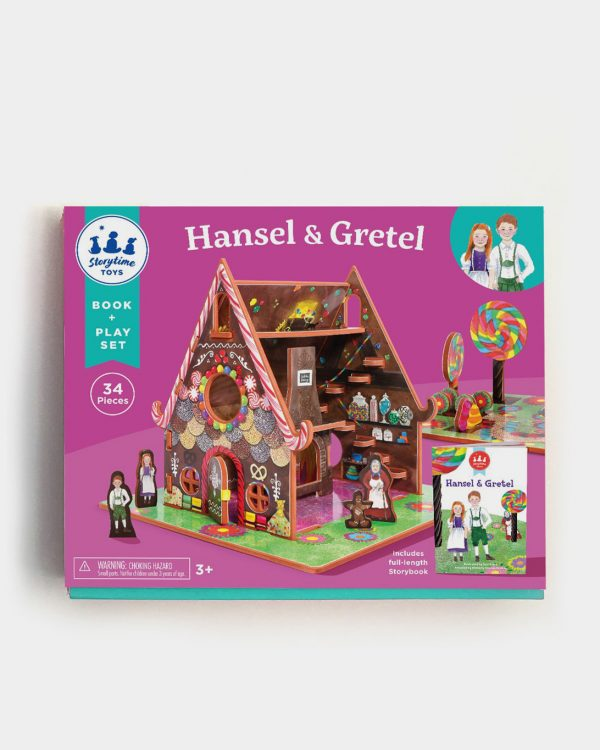 A box containing a storybook toy featuring Hansel and Gretel