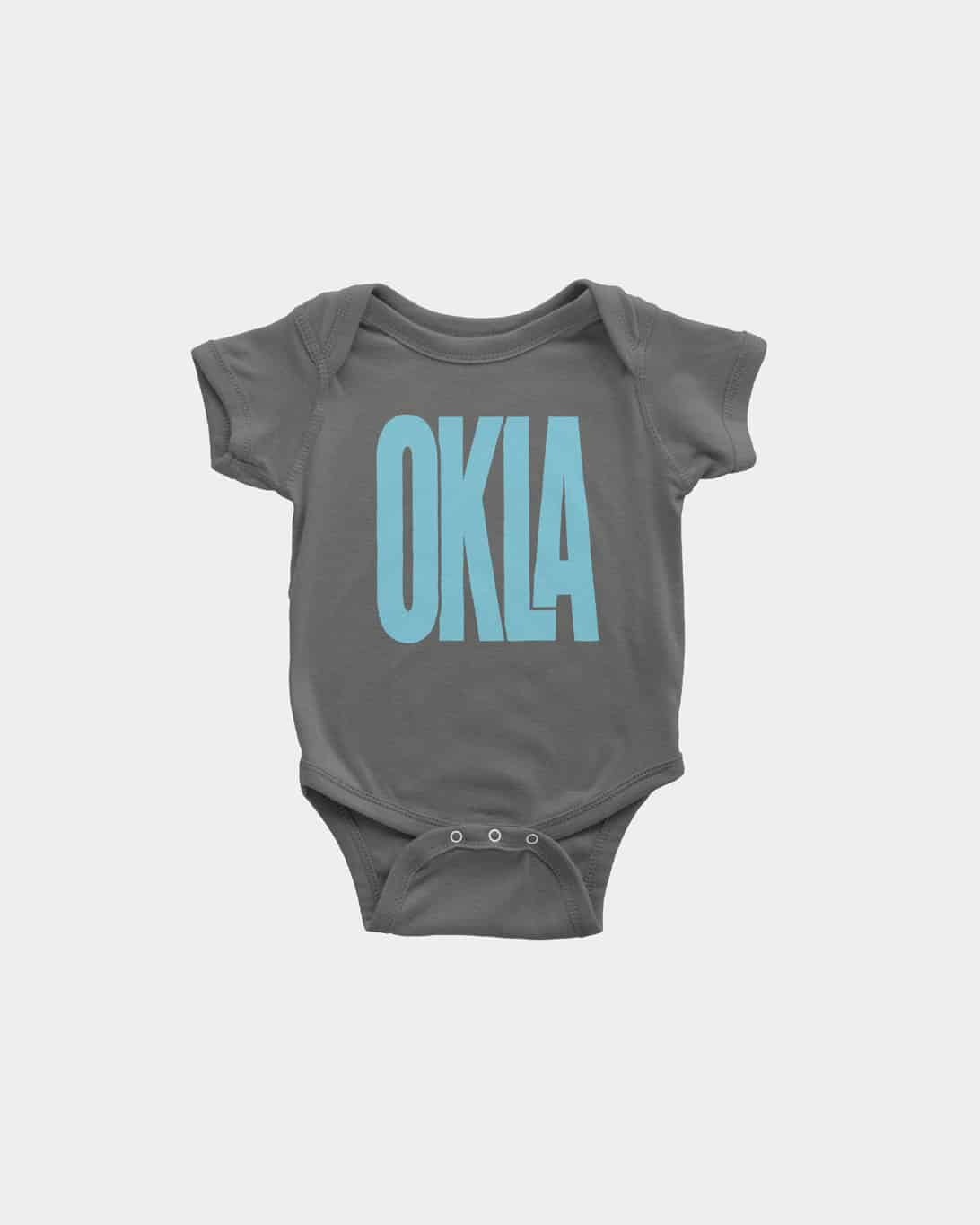 A charcola grey, kid's onesie with OKLA printed on the front in blue
