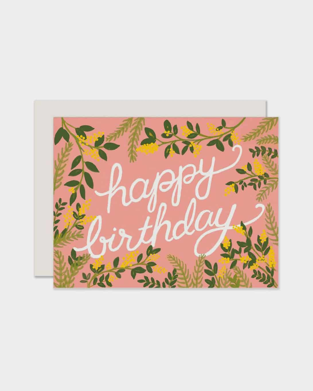 Pink card that says 'happy birthday'