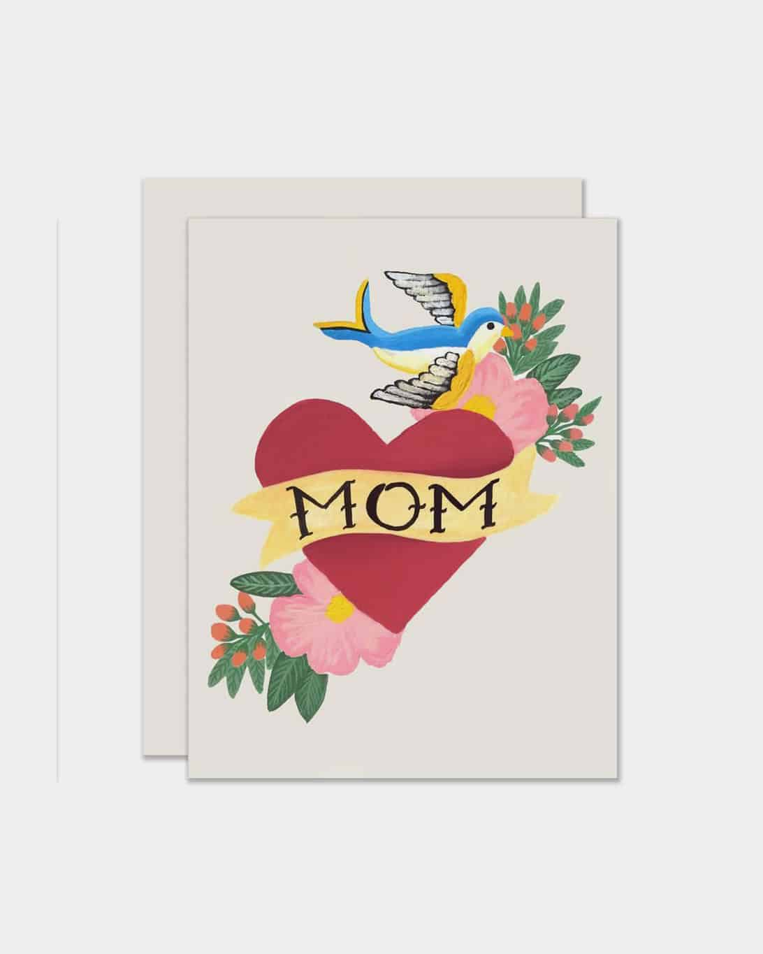 White card that says 'mom' in a heart