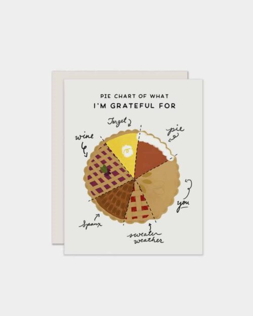 White card with a pie on it