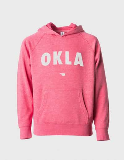 A pomegranite hoodie that says OKLA in white on the front
