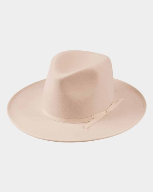 A wide-brimmed, tan wool hat.