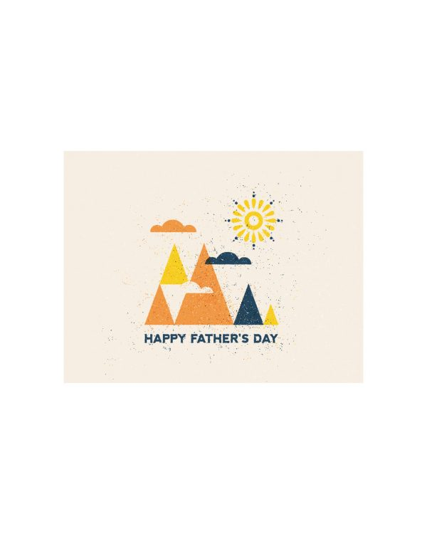 A white paper card that says Happy Father's Day on it with mountains screen printed on it.