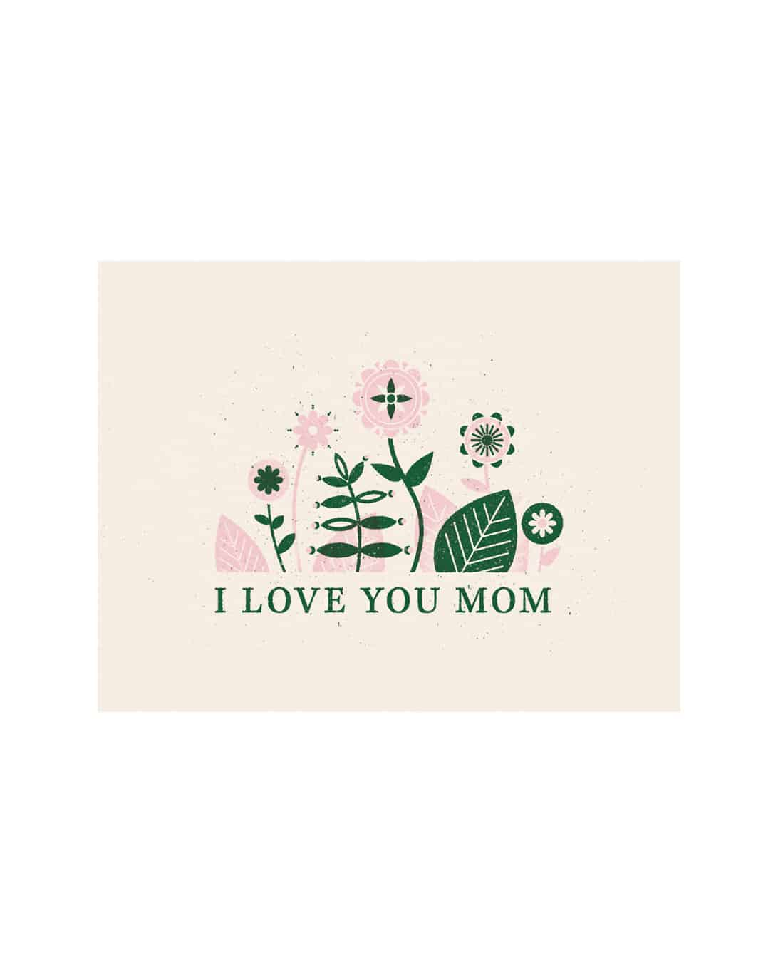 A white card with pink and green flowers on it reading Happy Mother's Day