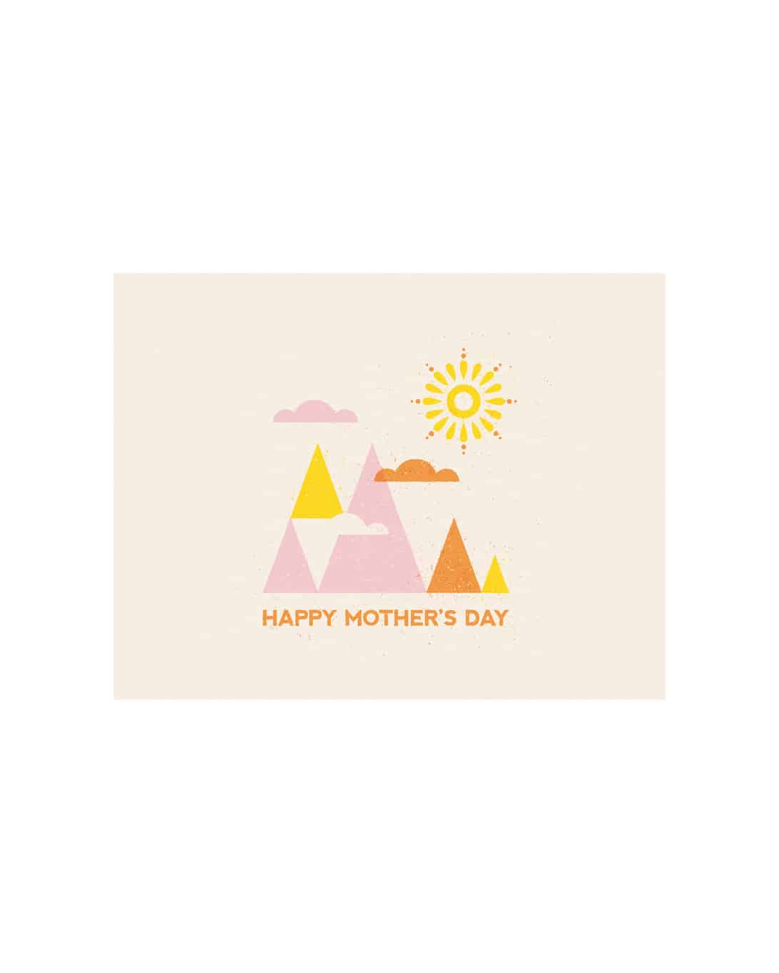 A white card that says happy mother's day with pink and orange mountains on it.