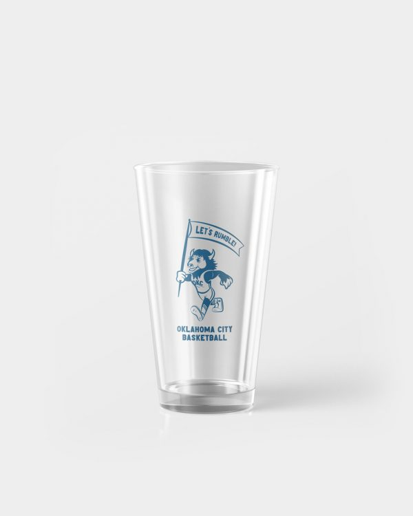 A pint glass with the OKC Thunder Mascot on the front, Rumble the Bison