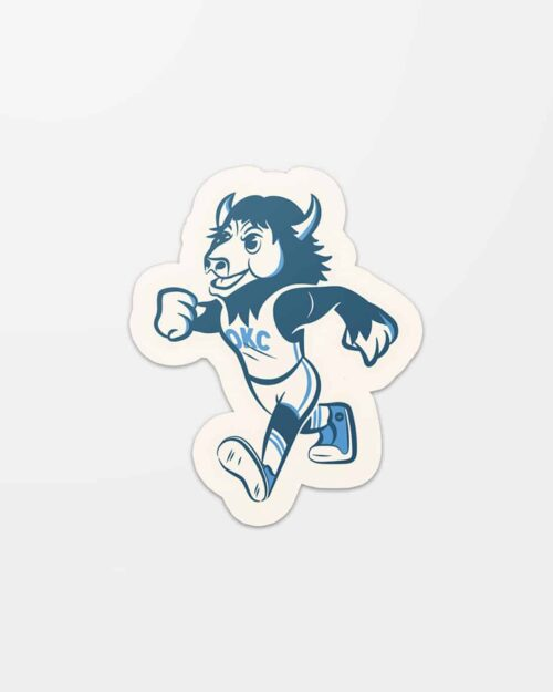 A sticker with Rumble the Bison. The Oklahoma City Thunder mascot.