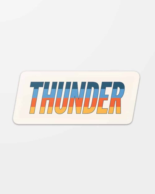 A four color vinyl sticker that says Thunder for the Oklahoma City Thunder.