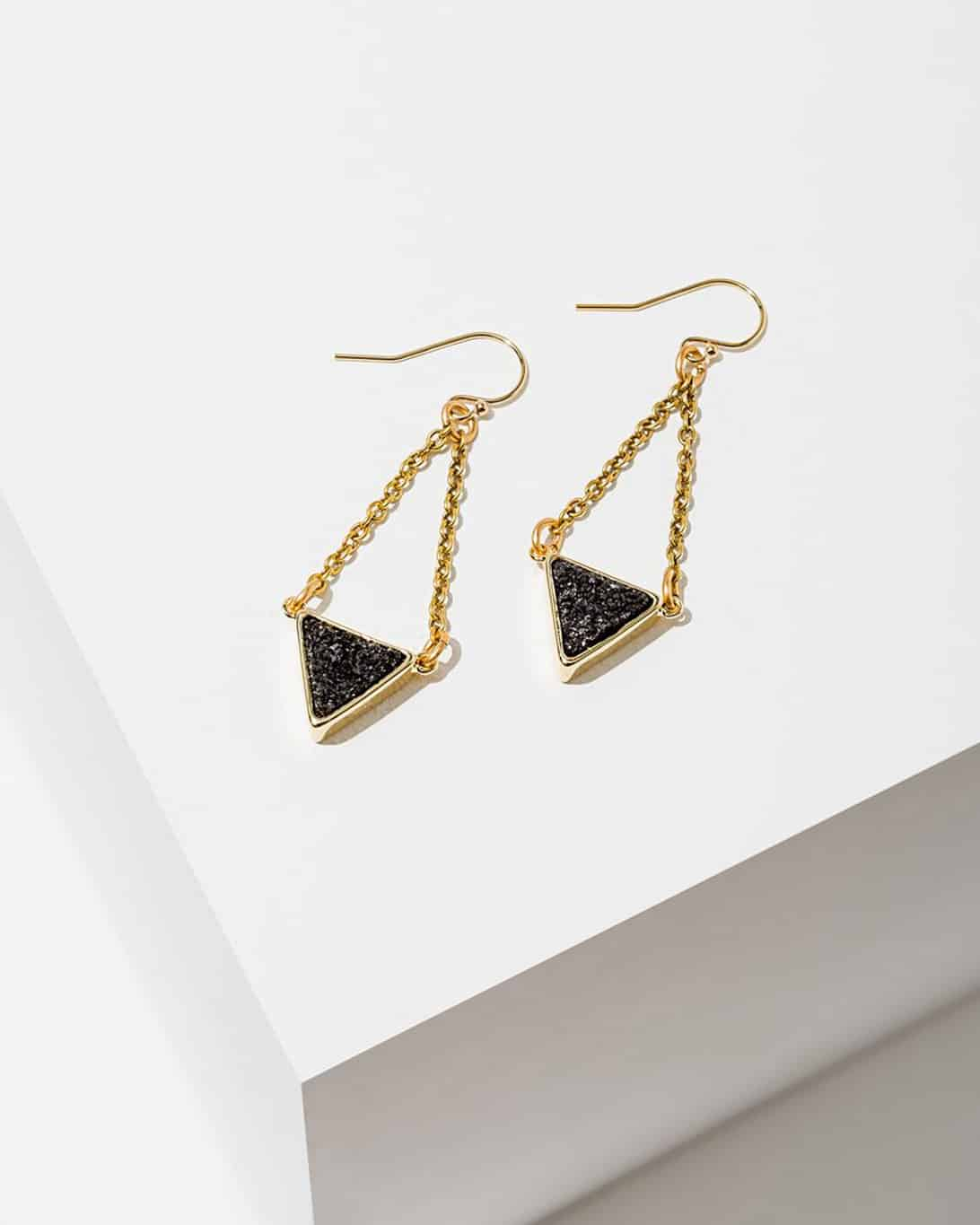 Tri Drusy Earrings Black