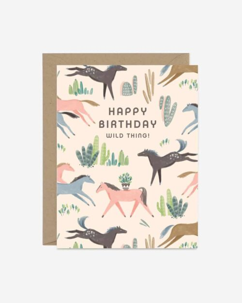 A white card with mustangs on it that says 'Happy Birthday.'