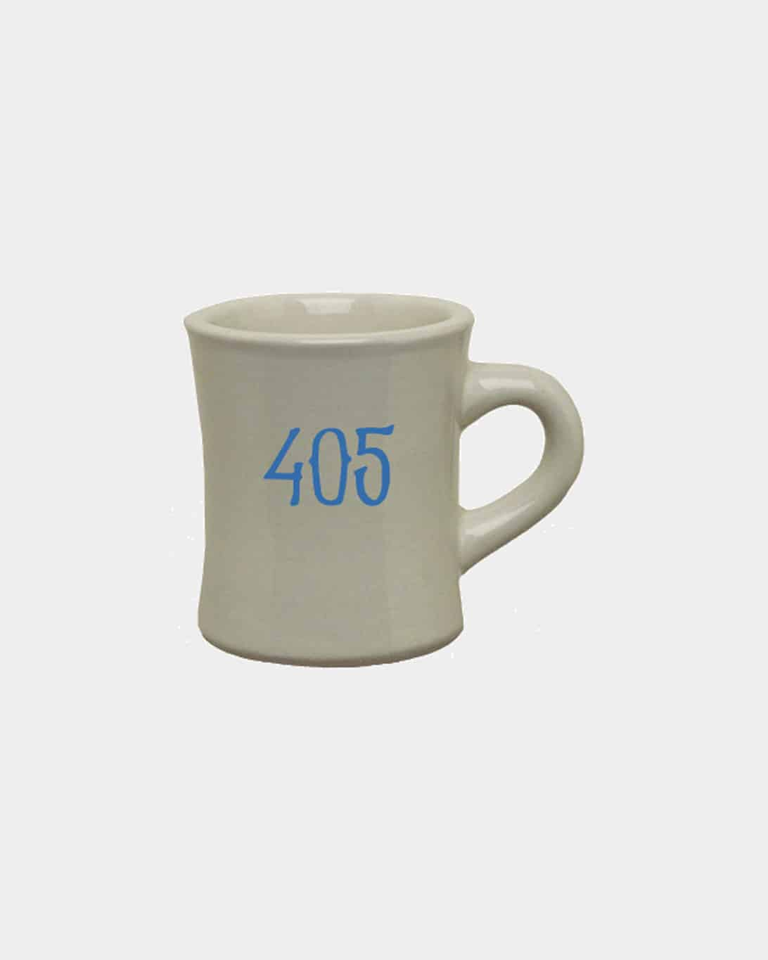 A military mug with 405 printed on it in blue.