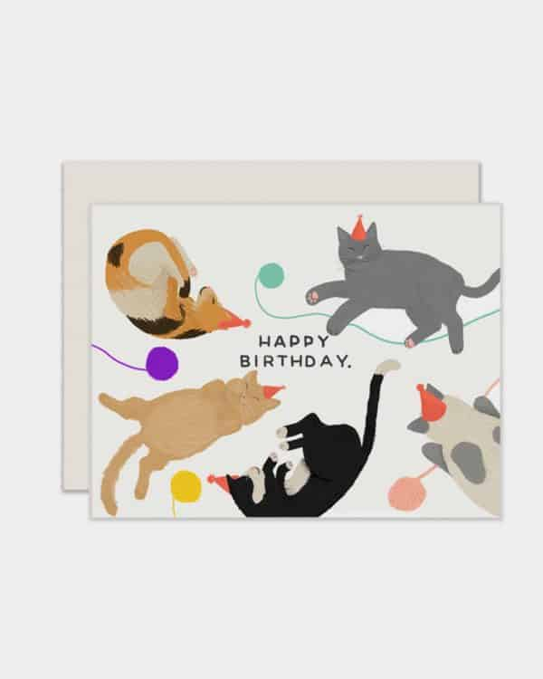 White card with cats on it that says 'happy birthday'