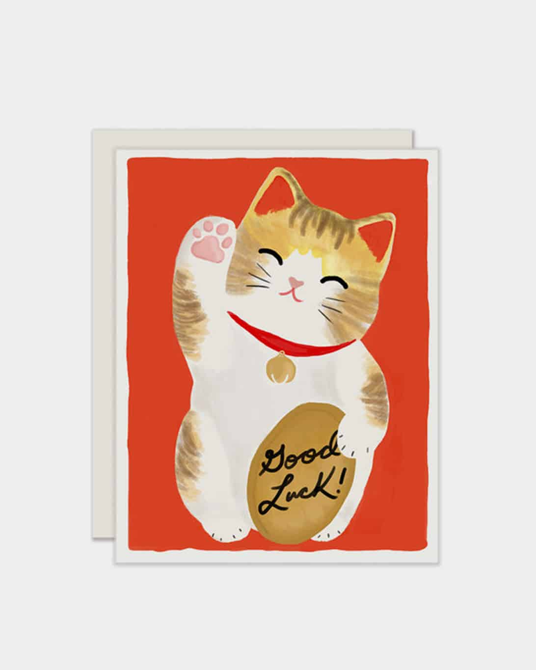 White card with a cat on it that says 'good luck'