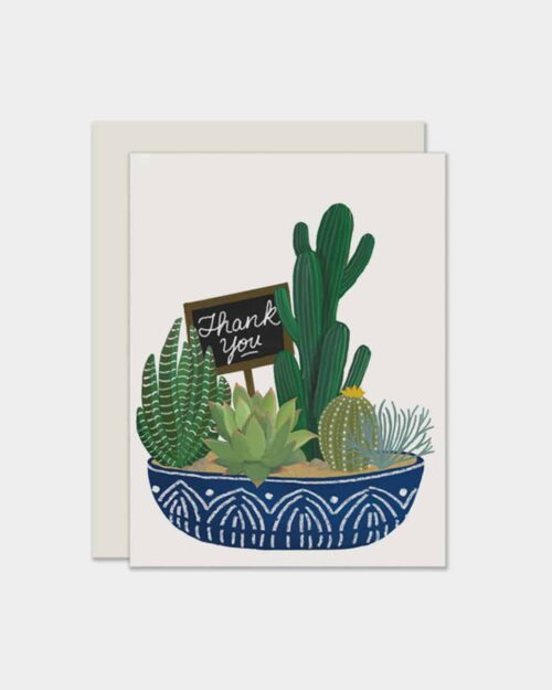 White card with a succulent bowl on it that says 'thank you'