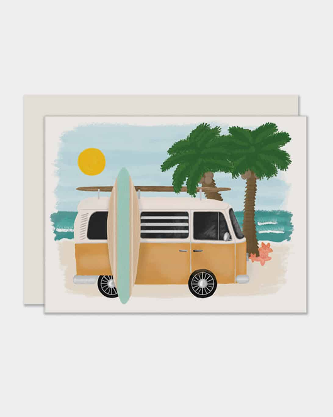 White card with a van and surfboard on it