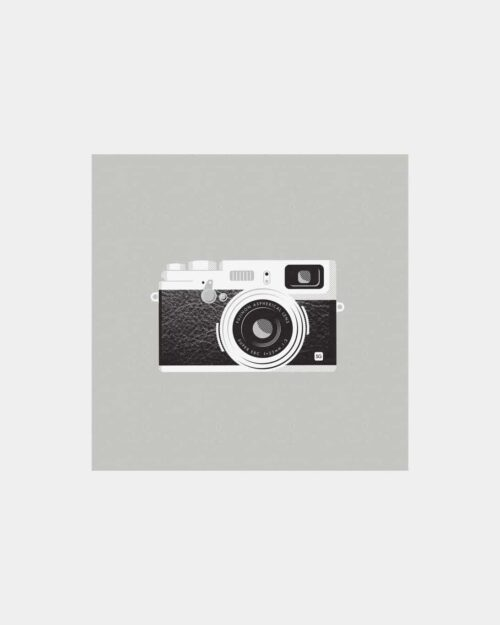 Grey art print of a fuji camera