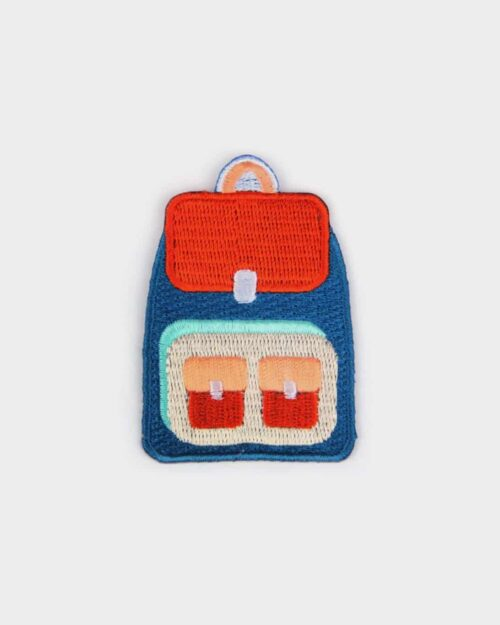 A patch of a blue, red and tan back for kids