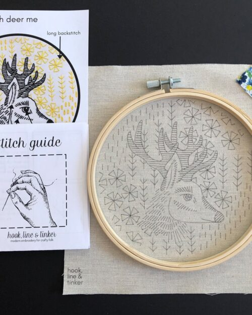 A photo of a black, yellow and white Oh Deer Embroidery Kit