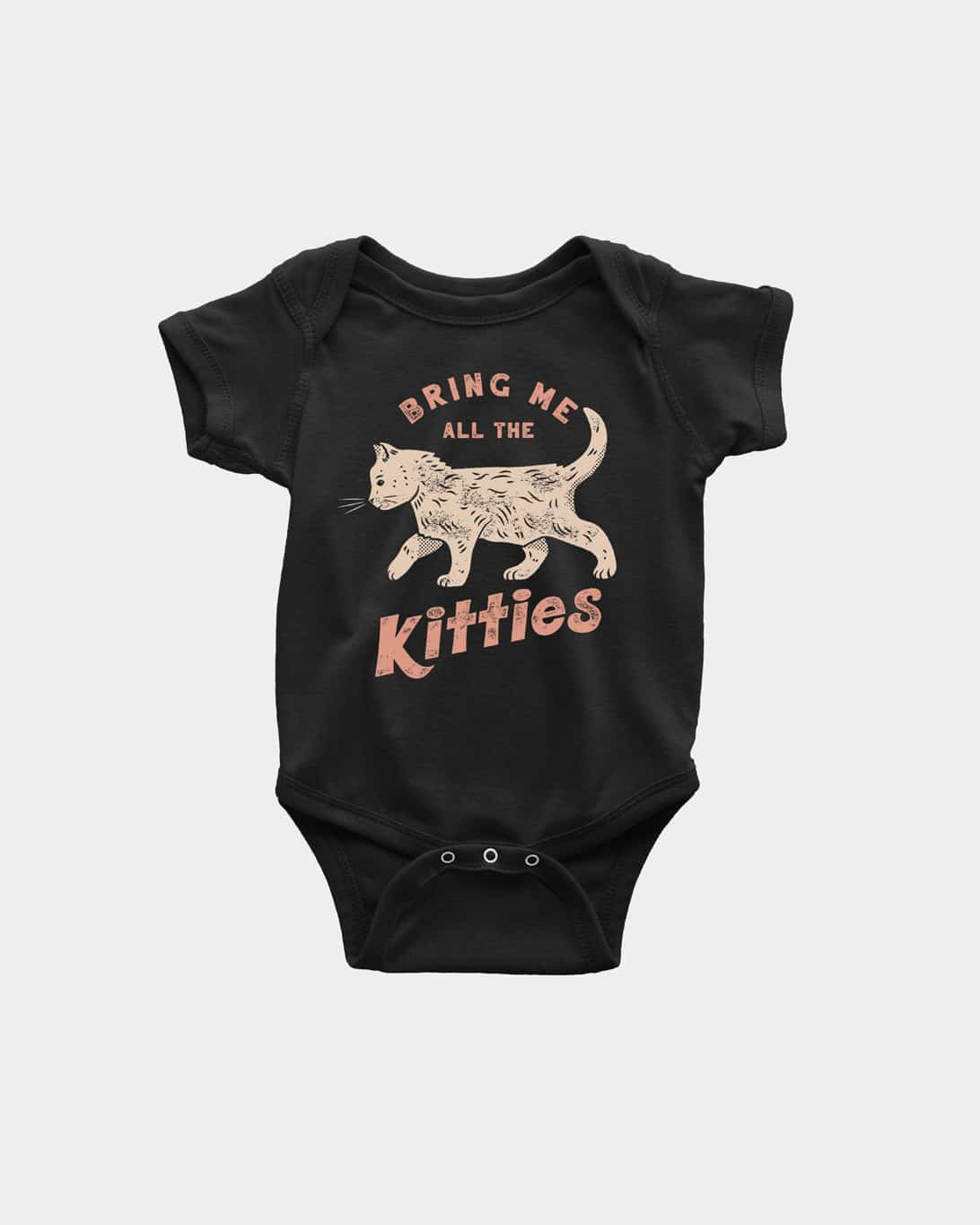 A mockup of a black kid's onesie that says 'Bring me all the Kitties' with a cat on it.