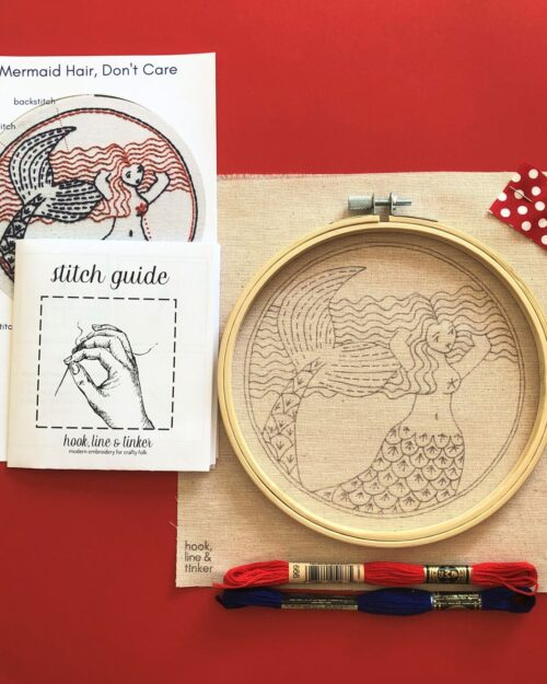 A photo of a Blue, red and white Mermaid Hair Embroidery Kit