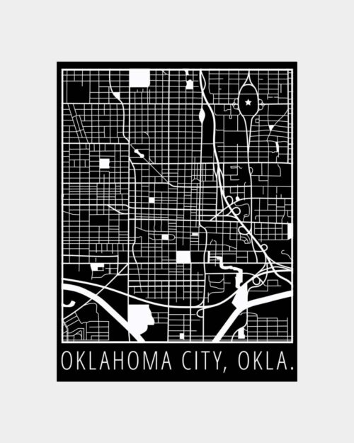 A black poster with a white print of the map of Oklahoma City on it
