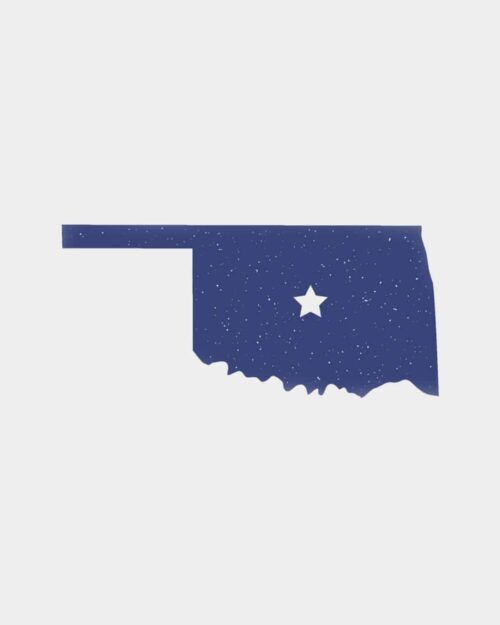 A blue sticker in the shape of Oklahoma