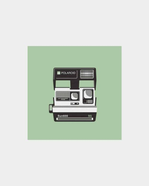 Green art print of a polaroid camera
