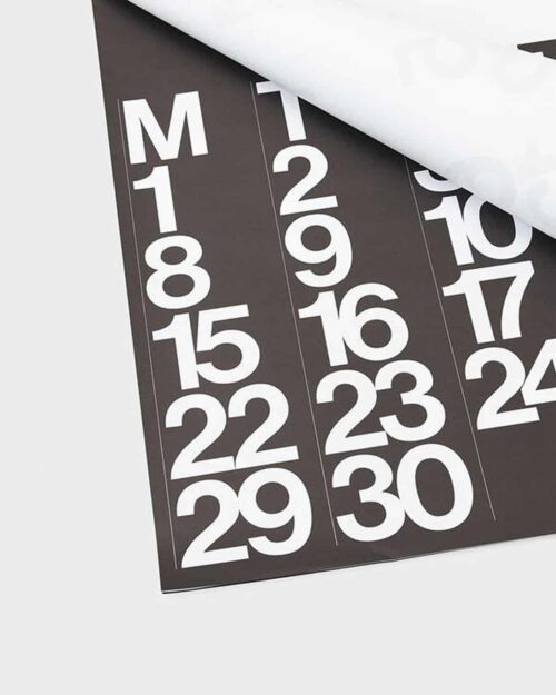 A mockup of a 2020 stendig calendar with a black page and white numerals