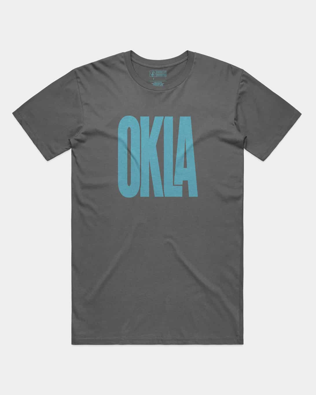 A grey shirt that says OKLA in blue ink