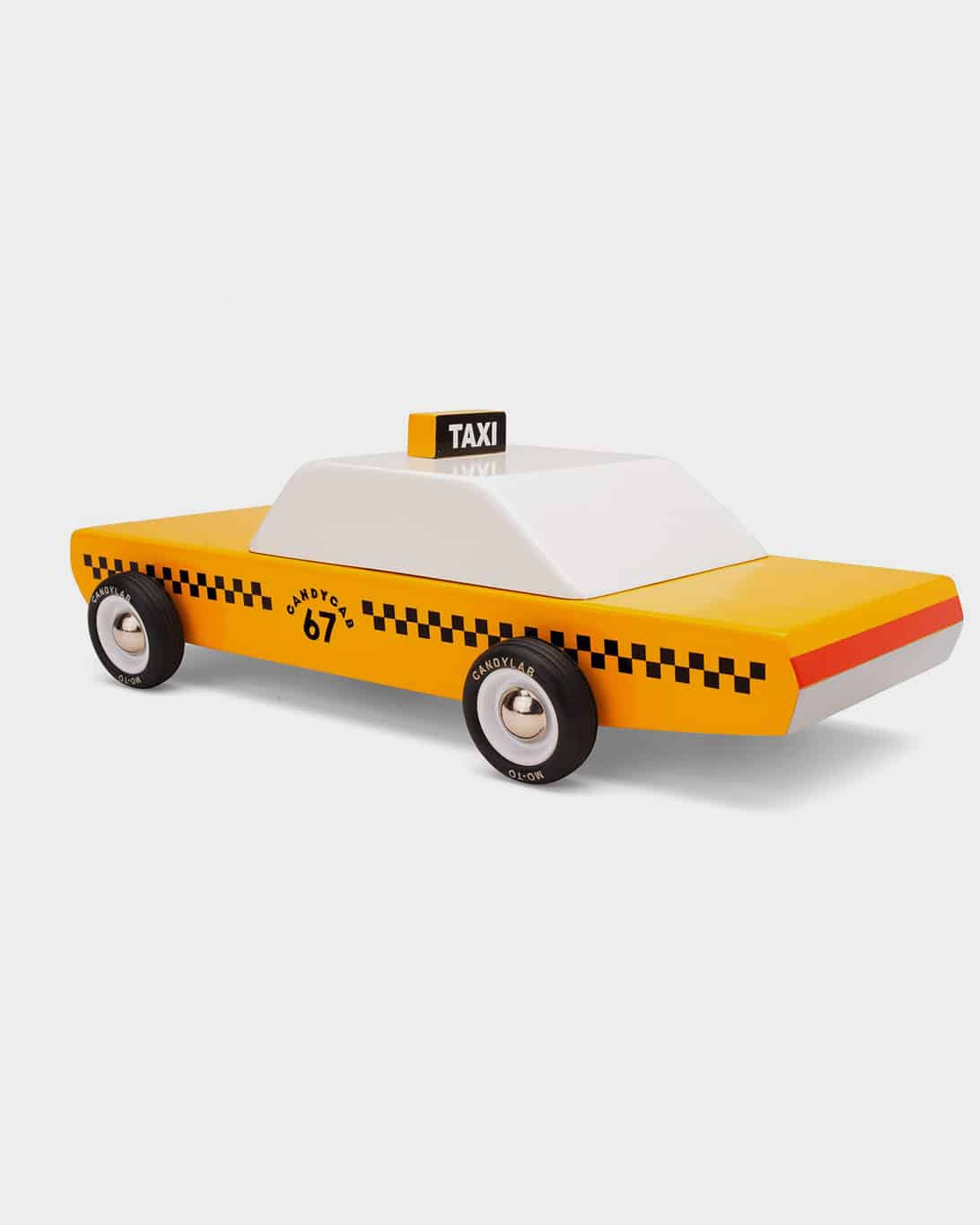 Yellow and white wooden toy cab