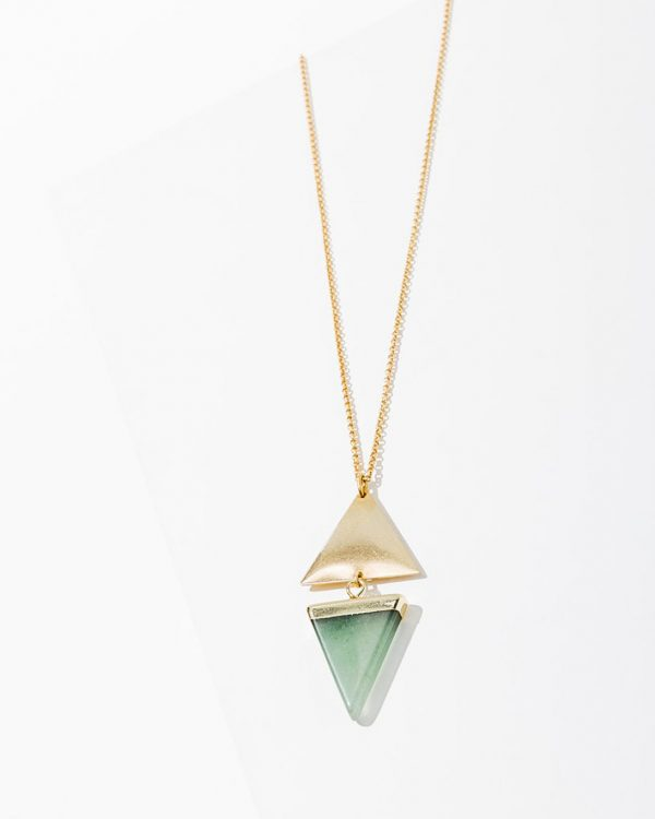 Gold chained necklace with green triangle gem