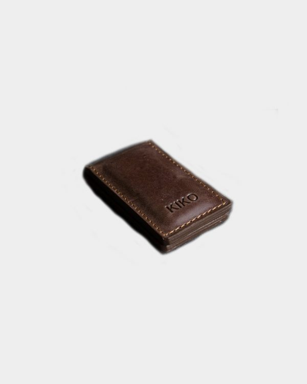 Brown magnetic leather money clip