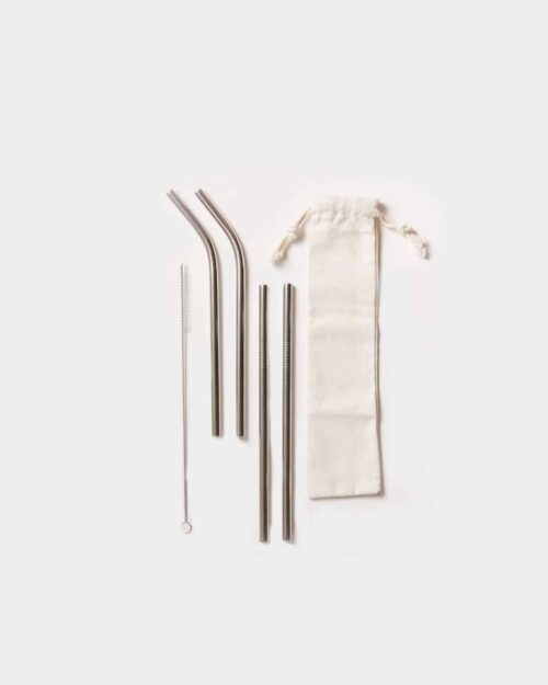 four silver stainless steel straws in cloth bag