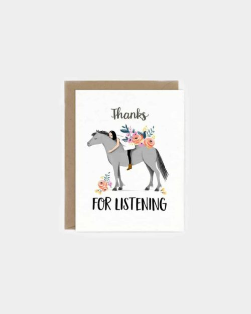 White card that says 'thanks for listening'