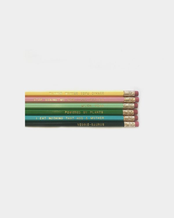 Set of 6 pencils that have words on them