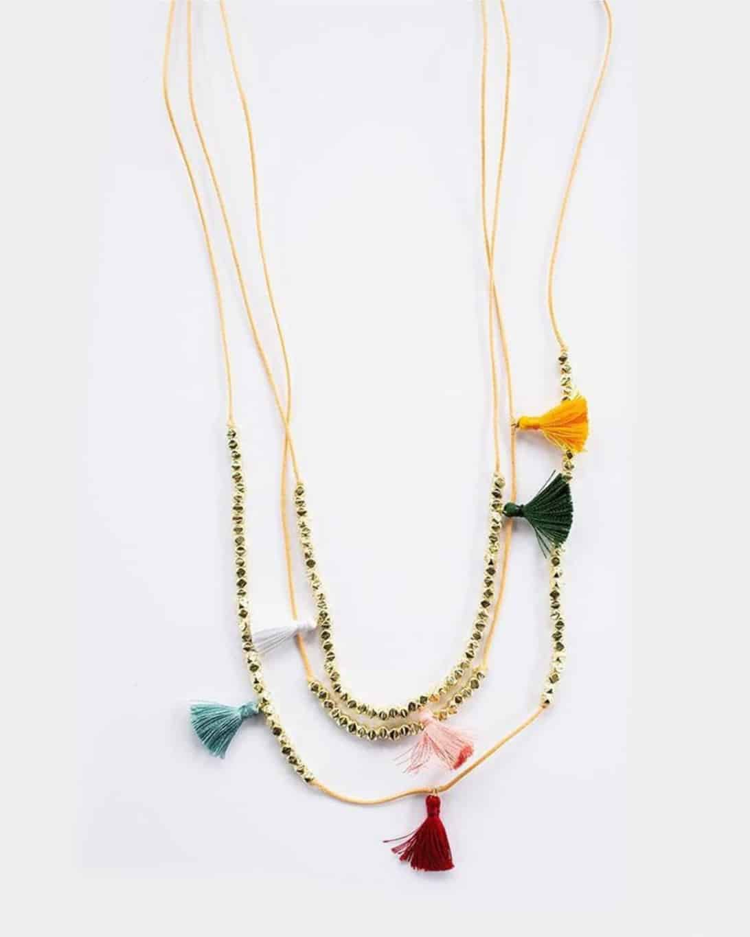 Gold chain necklace with colorful tassels