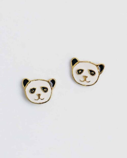 black and white panda stud earrings