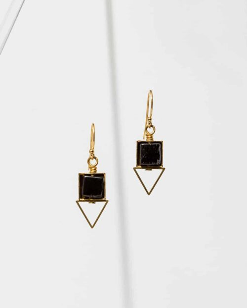 Gold and black earrings with a triangle shape