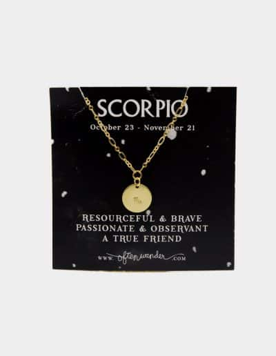 Gold chained necklace with Scorpio sign engraved