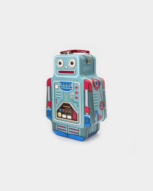 Blue tin lunchbox in the shape of a robot